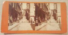 """Antique Stereoview Card """"Break Neck Steps"""" Quebec Canada Milliner Sign"""