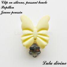 Pince / Clip en silicone, attache tétine, passant boucle, Papillon : Jaune pouss