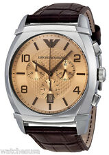 Emporio Armani AR0348 Amber Dial Brown Leather Chronograph Men's Watch