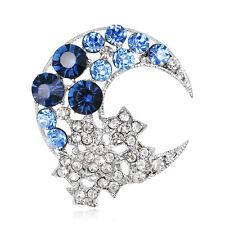 Azul Luna Rhinestone cristal brillante mujeres nupcial boda joyería broches PIN