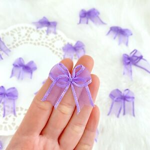 Lavender Organza Bows Fabric Bows Applique Sewing Decor Ribbon Small Bows Purple