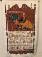 VTG Retro 1968 Linen Kitchen Calendar Towel  Sequin-Embellished Art Rooster