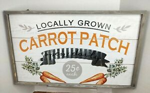 Locally Grown Carrot Patch Farmhouse Indoor Outdoor Wood Hanging Sign Picture