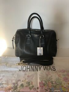 NEW~$425 JOHNNY WAS (ISABELLE) Duffle Bag~Black Pebble Leather ITALY