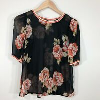 A New Day Womens Top Blouse Size S Black Orange Floral Sheer Short Sleeve