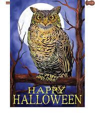 "Happy Halloween Owl Moon House Flag Large 40"" x 28"""