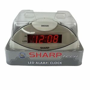 Sharp SPC019A  White Alarm Clock w Snooze Red LED Display NEW