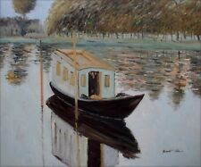 Quality Hand Painted Oil Painting Repro Claude Monet Studio Boat 20x24in