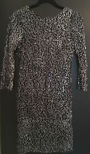 Women's QED London Sequin Bodycon Dress With V-Back, 3/4 Sleeves, Size 10