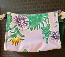 "PVC Floral Zipper cloth handle polka dot interior 6x7""Cosmetic Makeup Bag NICE!"