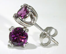 14k White Gold Earrings 8-Prong Set Rhodolite Garnet 1.50 ctw