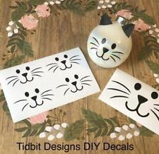 Set of 5 Cat Face Vinyl Decals / Christmas / Ornaments / Favors / DIY Projects