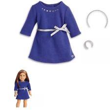 American Girl ~ Blue Rhinestone Studded Dress W/Headband and Bracelet  - New