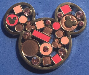 DISNEY WDW 2013 MICKEY MOUSE HEAD ICON WITH PINK JEWELS PIN