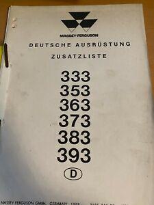 Ersatzteilliste für die MF 333, 353, 363, 373, 383, 393 Deutsche Ausrüstung