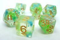 RPG Würfel Set 7 teilig Poly w4-w20 Green Planet DND dice4friends Rollenspiel