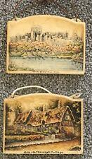 Pair Vintage IVOREX Osborne Plaques Ann Hathaway Cottage Windsor Castle