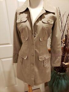 Tulle Trench Coat Jacket Cargo Tan Khaki S Small 2 4