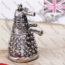 quirky Dr Who Fan long chain Big Darlek pendant Necklace vintage silver fashion