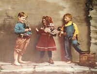 Antique J. Hoover & Son 1903 Chromolithograph Three Kids Titled Envy