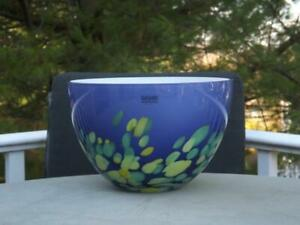 "Sasaki Glass Serving Bowl Purple & Green 9 1/2"" Wide 6"" Tall"