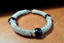 "Nib SHAMBALLA BEADED Bangle Bracelet 8-9"" Silvertone Cluster Jewelry Japanese"