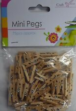 Pack of 75 Wooden Mini Clothes Pegs -Great for Arts & Crafts, Hanging Photos etc