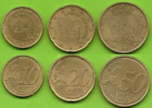 Chypre; 10, 20 et 50 cent, 2008, pièces ayant circulé