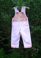 Pink baby toddler dungarees cotton floral pockets bunny buttons 18-24 mts girls