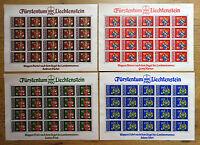 Liechtenstein 20 x 743 - 746 postfrisch Kleinbogen KB Satz Motiv Wappen 1980