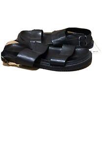 Leather Jesus Mens Black Canaan Roman Sandals Gladiator UK Size -9 EU 43