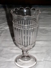 """Clear Glass Ribbed 7¾"""" Tall Wafer Stemmed Vase or Urn"""