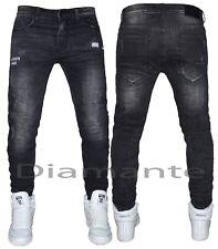 Jeans uomo nero sfilacciati Design slim pantaloni elasticizzati nuovo 1228