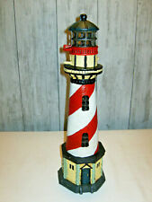 "Cast Iron Light House Tea Light Candle Door Stop 17"" High Red White Stripe"