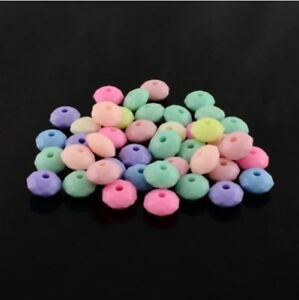 🎀 3 FOR 2 🎀 500 Opaque Pastel Nursery Mix Flat Round Faceted 6mm Spacer Beads