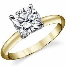 Solitaire Ring 14K Two Tone Gold 1.10Ct Forever One Cushion Moissanite 4-Prong