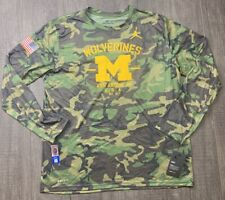 NWT Mens Jordan Nike Michigan Wolverines Veterans Day Camo Shirt Size Large $40