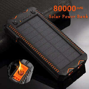 Solar Power Bank Portable Mobile Phone Charger with Cigarette Lighter 80000mAh