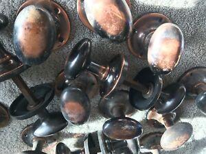 Vintage copper oval door knobs/handles