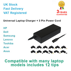 90W Universal Laptop Charger Plug UK AC Power Adapter Charger Multi Connectors