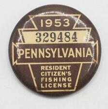 1953 PA Pennsylvania Fishing License Resident Button Vintage