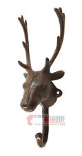 Cast Iron Deer Antler Buck Coat Hanger Rack Key Holder Wall Mount Cabin Lodge
