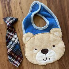 Baby Boy Accessories. Bear Bib & Tie.
