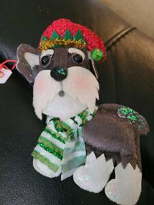 Nicole Schnauzer Stuffed Fabric Dog Ornament New with Tag
