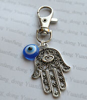 Blue Evil Eye, Hamsa Hand, Fatima  Keyring,Handbag,Bag Purse Charm Zip Puller