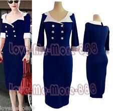 Womens Vintage 3/4 SLEEVE Celebrity Wear to Work Party Midi Dress DARK BLUE 2XL