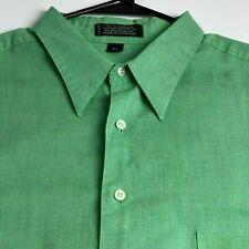 Conte di Milano Men Short Sleeve Button Up Shirt 17 ½ XL Green One Pocket Casual
