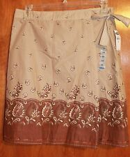 OLD NAVY Ladies' Size 10 WRAP SKIRT (brown w/ sequins; knee-length) NEW w/ Tags