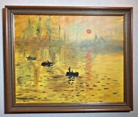 Oil Painting On Canvas Sunset Boats Silhouette River Landscape Scene Framed