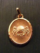 Ciondolo Medaglione Segno Zodiacale d'Oro Placcato Cancro Ovale